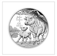 2021 $1 YEAR OF THE OX 1/2 oz SILVER BULLION COIN IN CAPSULE