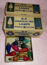 2 Boxes Vintage GE Mazda Christmas Tree Lamps + 12 SWIRL FLAME Colored Bulbs