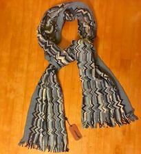 MISSONI Scarf Blue White Aztec Striped Pattern Wrap Wool Italian Fringe Zig Zag