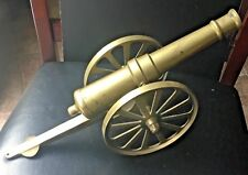 """Vintage Large Brass Canon & Wheels Office Display  Decor Man Cave 15.5 """""""