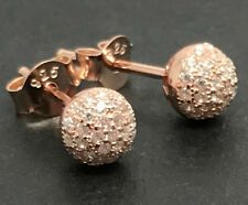 Rose gold on solid Sterling silver sparkly ball stud earrings, new, cubic z, UK.