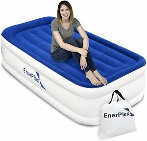 EnerPlex, Twin Double-High Airbed Air Mattress, White & Blue