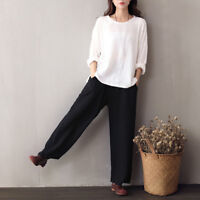 Women Cotton Linen Pants Casual Summer Elastic Waist Loose Wide Leg Trousers New