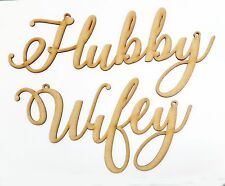 Wedding Hubby and Wifey Chair Signs Props Hanging Laser Cut Wood