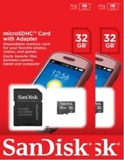 Lot of 2 SanDisk 32GB CLASS 4 micro SD SDHC Flash Memory Card PACK + ADAPTER
