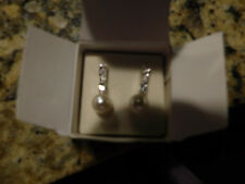 Avon Pearlesque Pearl and Rhinestone Earrings • Special Occasion 2005 • NIB