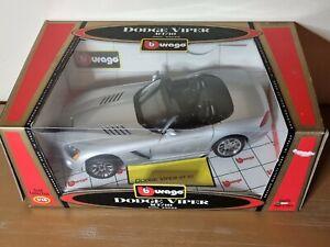 Bburago Dodge Viper SRT/10 In Silver Metallic 1:18 Scale Diecast Model Car Boxed