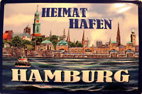 Heimathafen Hamburg Panneau Métallique Plaque 3D Voûté Signe en Étain Métal 20 X