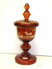 ANTIQUE AMBER CUT TO CLEAR BOHEMIAN LARGE 16 INCH VASE DEER SCENES EXC COND