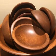 Beautiful Wooden Salad Bowls Service For 12