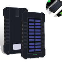 Solar Mobile Power Bank 20000mAh Portable Phone Charger External Backup Battery