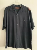 Tori Richard Men's Black Silk Embroidered Palm Tree Hawaiian Shirt, Size M