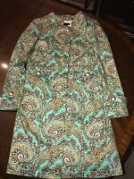 Ladies Coat Etcetera Size 6 Paisely Trench Coat Teal Gold Spring