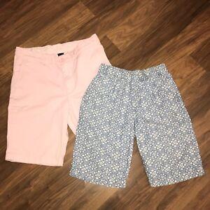 Lot of 2 Boys Crewcuts J.CREW Blue Pink STANTON Cotton shorts Kids Childs 14 16