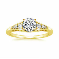 Hallmark 14K Yellow Gold Solitaire 0.81Ct Diamond Womens Engagement Ring Size N