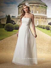 NEW Marys Bridal Civil Destination Wedding Dress Chiffon Corset 2458 Ivory SZ 6