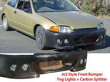 92 93 94 95 Honda Civic 2/3DR M3 Front Bumper Fog Light +Splitter+ Window Visors