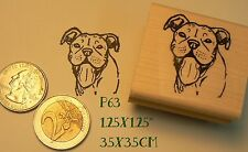 P63 Smiling pit bull dog  rubber stamp