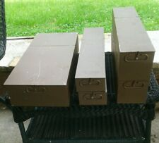 5 VINTAGE LeFEBURE BEIGE SAFETY DEPOSIT BOXES FROM BANK IN N.J FROM THE 1940`S