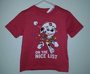 NWT Old Navy Boys 12-18 18-24 PAW PATROL Christmas Shirt RED Marshall    #321117
