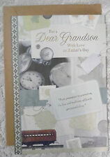 """Happy Father's Day Card with Envelope """" For a Dear Grandson """" (Fd-4)"""