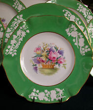 SPODE #R9017-FLORAL BASKET (1920's+) LUNCH PLATE(S)-GREEN/WHITE/GILT EXCELLENT!