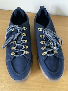 Mens Navy Blue Shoes UK Size 8 EUR 42 Casuals Sneakers Zara Man