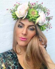 Blush Pale Pink Rose Succulent Flower Gypsophila Crown Hair Head Band Choochie