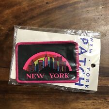 Vintage New York City Neon Pink Black Skyline Patch Empire State Twin Towers NEW