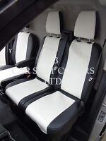 VW TRANSPORTER T5 VAN (UK MODEL) SEAT COVERS WHITE / BLACK LEATHERETTE