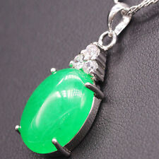 Pretty Oval Jade Pendant Crystal 18k Gold Plated White Zircon Women's Pendant
