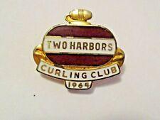 VINTAGE 1964 TWO HARBORS MINNESOTA CURLING CLUB SPORT CURLING PIN ~ ESTATE FIND