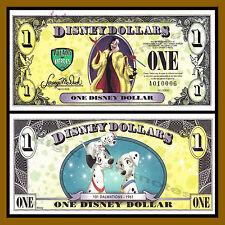 "Disney 1 Dollar, 2013 ""A"" Series, 5 Digit Serial 101 Dalmatians Cruella ""Error"""