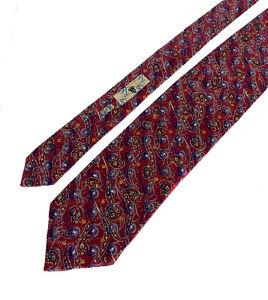 NWT $195 Robert Talbott Seven 7 Fold Tie Cherry Red/Blue Paisley Abstract Silk