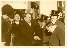 Bucarest décembre 1937, Yvon Delbos à son arrivée à la gare Vintage silver print