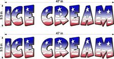 "Pair Of 9.5"" X 47"" Vinyl Decals Ice Cream Red White Blue Flag Style Truck Cart"