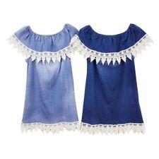 Girls Denim Look Bardot Off Cold Shoulder Dress Summer Ages 4-14 Yr Teen Fashion