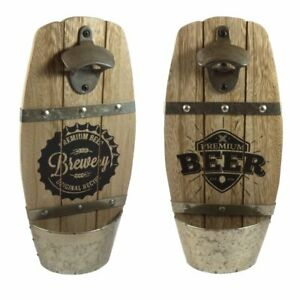 Vintage Wooden Wall Mounted Beer Brewery Bottle Opener Cap Catcher Top Opener