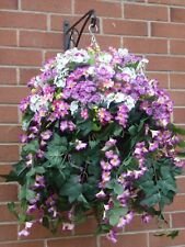 Cone Hanging Baskets With Artificial Magenta/White Morning Glory -G20