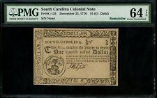 Us Colonial Currency South Carolina Fr# Sc-135 December 23, 1776 $1 Pmg 64 Epq