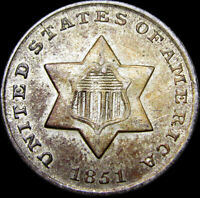 1851 Silver Three Cent Piece 3cp Silver US Coin   ---- Type Coin ----  #G473