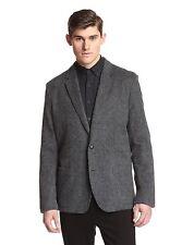 NWT $498 Edun Two Button Brushed wool blend gray Charcoal Blazer jacket 44