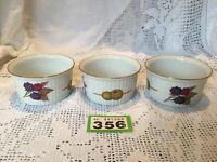 3 x Royal Worcester Evesham Ramekins - GOLD TOP RIM Berries and Olives