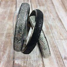 Trio Textured Skin Black Silver White 3 Sparkle Fabric on Metal Bangle Bracelets