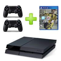 Sony PlayStation 4 Schwarz 500 GB 2x DualShock Controller HDMI + Fifa 17