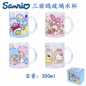 SANRIO CHARACTERS 350ML MELODY TWINS STAR PEKKLE DUCK GLASS MUG W/ HANDLE 7361