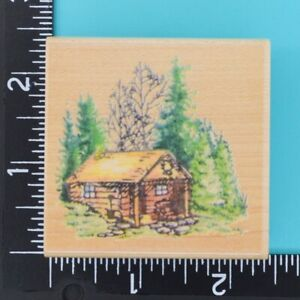 Stampendous Rustic Cabin F057 Trees Wood Mounted Rubber Stamp 1994 Made in USA