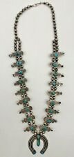 Old Navajo Squash Blossom Necklace with Blue Gem Turquoise Stones