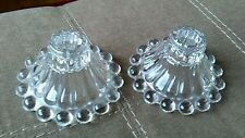 Pair of Vintage Candlewick Taper Candle Holders Clear Glass Very Nice Condition