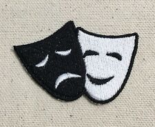 Comedy/Tragedy - Theater Mask - Black/White - Iron On Applique/Embroidered Patch
